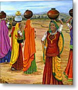 Rajasthani  Women Going Towards A Pond To Fetch Water Metal Print by Vidyut Singhal