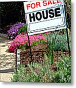 Real Estate For Sale Sign And Garden Metal Print by Olivier Le Queinec