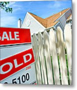 Real Estate Sold Sign Metal Print by Olivier Le Queinec