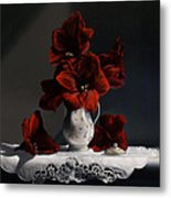 Red Amaryllis  Metal Print by Larry Preston