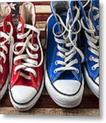 Red And Blue Tennis Shoes Metal Print by Garry Gay