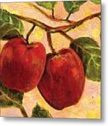 Red Apples On A Branch Metal Print by Jen Norton