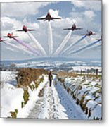 Red Arrows Over Epen Metal Print by Nop Briex