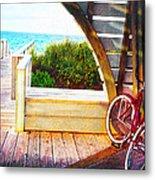 Red Bike On Beach Boardwalk Metal Print by Jane Schnetlage