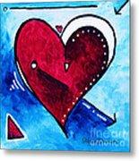 Red Blue Heart Love Painting Pop Art Joy By Megan Duncanson Metal Print by Megan Duncanson