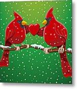 Red Cardinal Bird Pair Heart Christmas Metal Print by Frank Ramspott