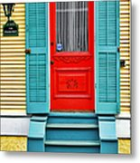 Red Door In New Orleans Metal Print by Christine Till