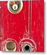 Red Door Lock Metal Print by Tom Gowanlock