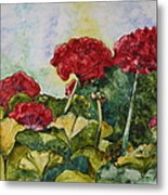 Red Geraniums Metal Print by Patsy Sharpe