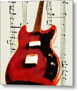 Red Guitar Metal Print by Bill Cannon