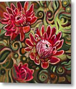 Red Proteas Metal Print by Jen Norton