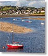 Red Sail Boat Metal Print by Adrian Evans
