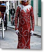 Red Sequined Mime Metal Print by Kathleen K Parker