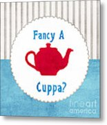 Red Teapot Metal Print by Linda Woods