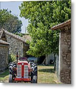 Red Tractor On A French Farm Metal Print by Georgia Fowler