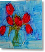 Red Tulips With Blue Background Metal Print by Patricia Awapara