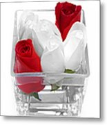 Red Versus White Roses Metal Print by Andee Design