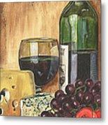Red Wine And Cheese Metal Print by Debbie DeWitt