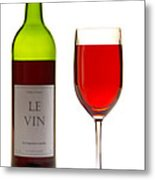 Red Wine Bottle And Glass Metal Print by Olivier Le Queinec