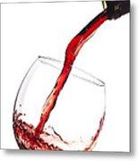 Red Wine Pouring Into Wineglass Splash Metal Print by Dustin K Ryan