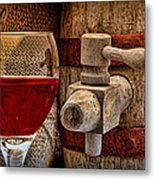 Red Wine With Tapped Keg Metal Print by Tom Mc Nemar