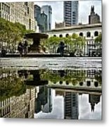 Reflecting In Bryant Park Metal Print by Shmuli Evers