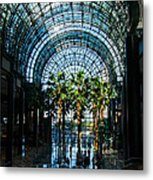 Reflecting On Palm Trees And Arches Metal Print by Georgia Mizuleva