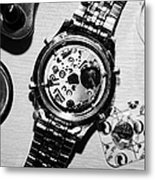 Replacing The Battery In A Metal Band Wrist Watch Metal Print by Joe Fox
