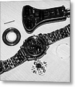 Replacing The Battery In A Metal Band Wristwatch Metal Print by Joe Fox
