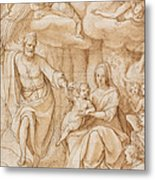 Rest On The Flight Into Egypt Metal Print by Federico Zuccaro