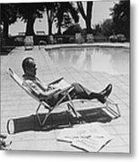 Richard Nixon Reading Newspapers While Metal Print by Everett