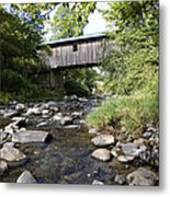 River Gorge Covered Bridge Metal Print by Jim  Wallace