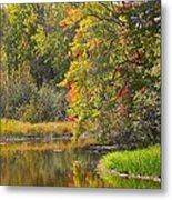 River In Fall Metal Print by Rhonda Humphreys