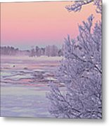 River In Winter Metal Print by Conny Sjostrom