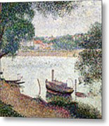 River Landscape With A Boat Metal Print by Georges Pierre Seurat
