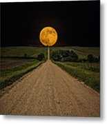 Road To Nowhere - Supermoon Metal Print by Aaron J Groen