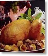 Roast Turkey With Potatoes Metal Print by The Irish Image Collection