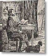 Robinson Crusoe In His Cave Metal Print by English School