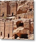 Rock Cut Tombs On The Street Of Facades Petra Jordan Metal Print by Robert Preston