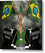 Rock N Roll Crest - Brazil Metal Print by Frederico Borges