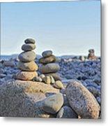 Rock Piles Zen Stones Little Hunters Beach Maine Metal Print by Terry DeLuco