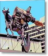 Rocket Cow Sculpture By Michael Bingham Metal Print by Steve Ohlsen