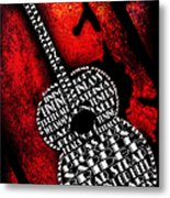 Rockin Guitar In Red Typography Metal Print by Andee Design