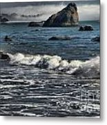 Rocks In The Surf Metal Print by Adam Jewell
