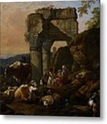 Roman Landscape With Cattle And Shepherds Metal Print by Johann Heinrich Roos