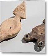 Roman Terracotta Oil Lamps Metal Print by Ilan Amihai