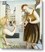 Rooftop Annunciation One Metal Print by Caroline Jennings