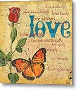 Roses And Butterflies 2 Metal Print by Debbie DeWitt