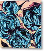Roses For A Blue Lady  Metal Print by Wendy J St Christopher