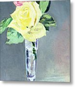 Roses In A Champagne Glass Metal Print by Edouard Manet